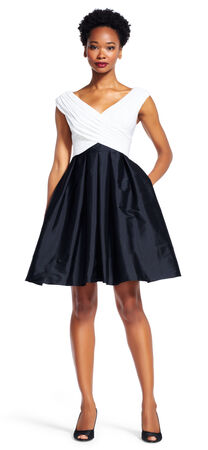 Draped Fit and Flare Dress with Full Taffeta Skirt