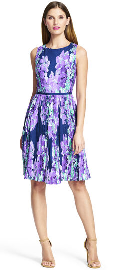 Floral Pleat Fit and Flare Dress