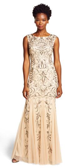 Cap-sleeve Beaded Gown