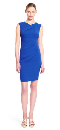 Cascading ruffle deep v back neck crepe sheath dress