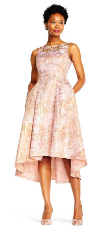 Abstract Floral High Low Dress with Jeweled Neckline