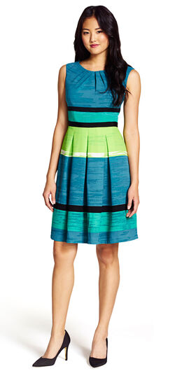 Pleated Striped Fit and Flare Dress