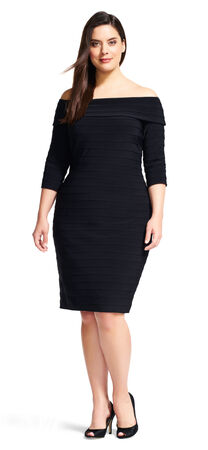 Off The Shoulder Banded Dress with Three Quarter Sleeves