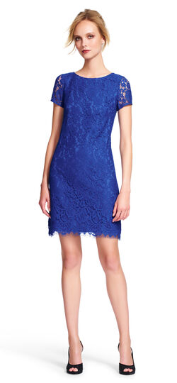 Lace Shift Dress with Sheer Short Sleeves