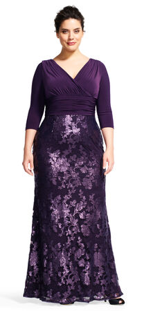 Sequin Floral Lace Dress with Draped Jersey Bodice