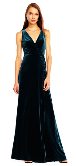1940s Formal Dresses History Sleeveless Velvet Wrap Gown with Tie Waist $220.00 AT vintagedancer.com
