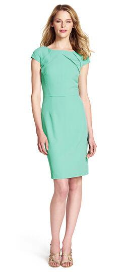 Pleat Detail Cap Sleeve Sheath Dress