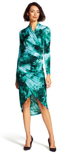 Printed High Low Wrap Dress