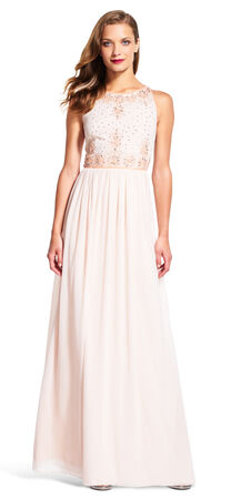 Chiffon Halter Gown with Sequin Beaded Floral Bodice