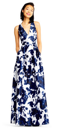Floral Print Ball Gown with Deep V-Neck and T-Back