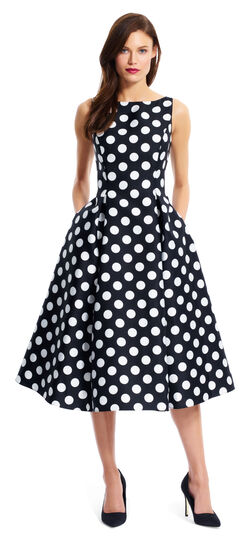 1950s Swing Dresses Polka Dot Mikado Midi Dress $155.00 AT vintagedancer.com