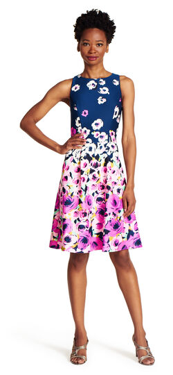 Halter neck fit and flare printed dress