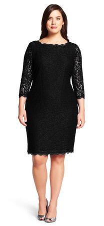 Three Quarter Sleeve Lace Sheath Dress with V-Back