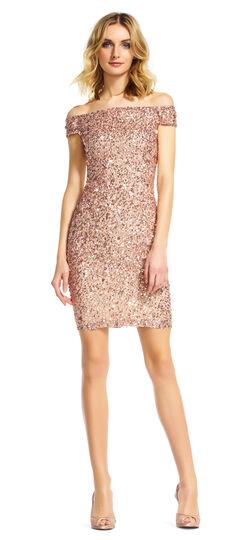 Off the Shoulder Sequin Beaded Dress