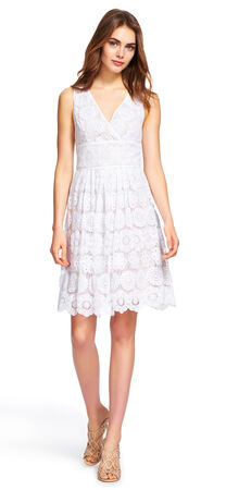 Embroidered Floral Medallion Lace Dress