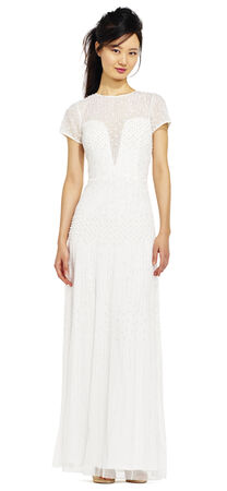 Pearl Beaded Dress with Illusion Neckline and Sleeves