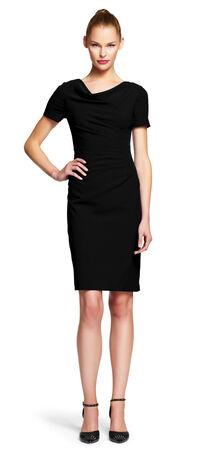 Pleat Crepe Shift Dress