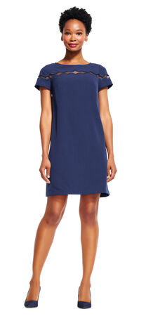 Short Sleeve Shift Dress with Sheer Shoulder Detail
