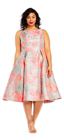Printed Jacquard Fit and Flare Dress