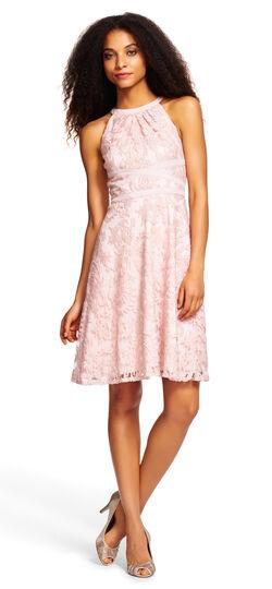 Halter Filigree Fit and Flare Dress