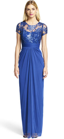 Embroidered Sequined Bodice Gown