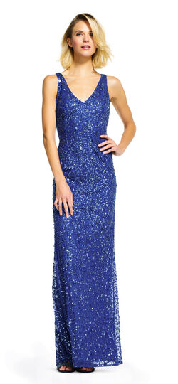 Sleeveless Beaded Mermaid Dress with Cut Out Back