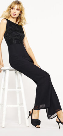 Sleeveless Jumpsuit with Beaded Bodice