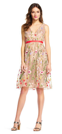 Floral Embroidered Fit and Flare Dress