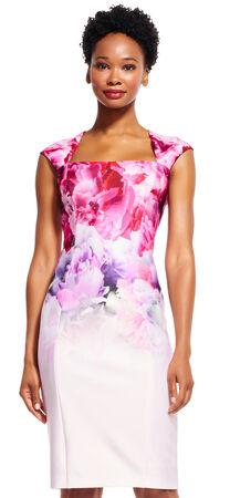 Ombre Watercolor Floral Print Dress with Cut Out Back