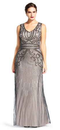 Sleeveless Beaded Gown with V-Neck