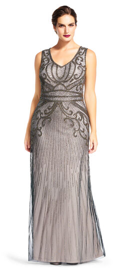 1920sStyleDresses Sleeveless Beaded Gown with V-Neck $399.00 AT vintagedancer.com