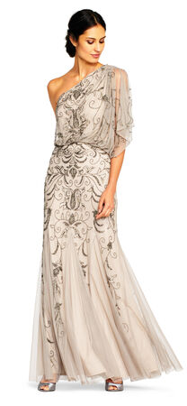 One Shoulder Blouson Gown with Floral Beading