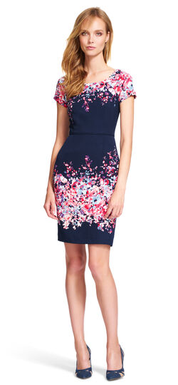 Floral Short Sleeve Sheath Dress