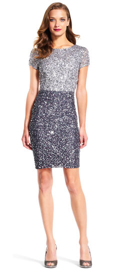 Short Sleeve Colorblock Sequin Cocktail Dress
