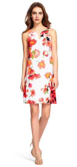 Floral Shift Dress with Cutout Neckline