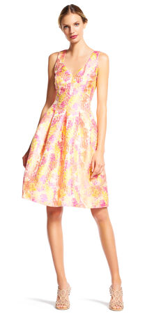 Bright Floral Print Fit and Flare Dress with V-Back