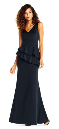 Layered Peplum Gown with V-Neckline