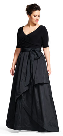 Three Quarter Sleeve Wrap Dress with Taffeta Ball Skirt