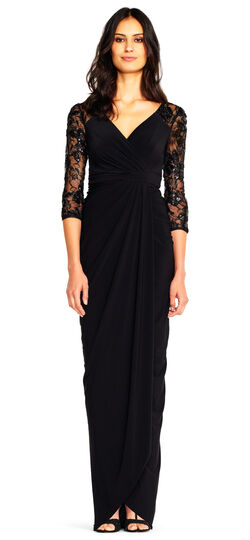 Downton Abbey Inspired Dresses Draped Column Gown with Sequin Lace Three Quarter Sleeves $189.00 AT vintagedancer.com