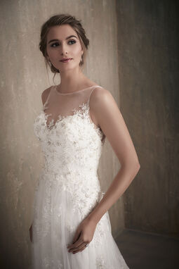 Beaded Lace Applique Wedding Dress with Illusion Neckline - 31023