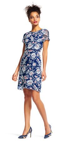 Floral Embroidered Sheath Dress with Sheer Short Sleeves