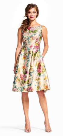 Floral Vine Midi Dress with Deep V-Back