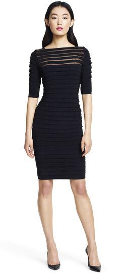 Pleated Illusion Sheath Dress