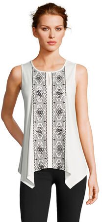 Sleeveless Asymmetrical Top with Contrast Embroidered and Keyhole