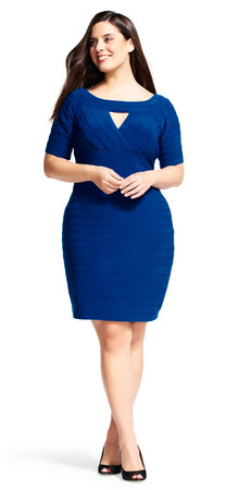 Short Sleeve Banded Dress with Cutout Neckline