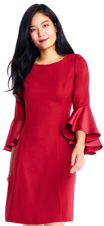 Crepe A-Line Dress with Three Quarter Satin Bell Sleeves