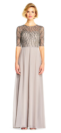 Plus Size Retro Dresses Sequin Beaded Chiffon Gown with Elbow Sleeves $249.00 AT vintagedancer.com