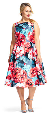 Floral Print Midi Dress with Deep V-Back