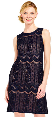 Sheer Arched Lace Shift Dress