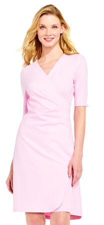 Ruched Wrap Dress with Elbow Sleeves